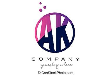 AK A K Circle Letter Logo Design with Purple Dots Bubbles -...