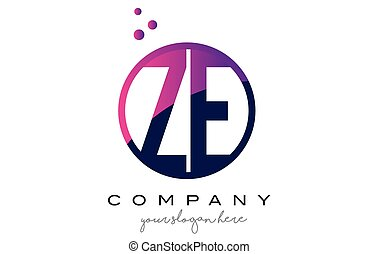 ZE Z E Circle Letter Logo Design with Purple Dots Bubbles -...