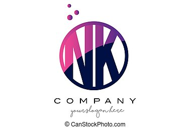 NK N K Circle Letter Logo Design with Purple Dots Bubbles -...