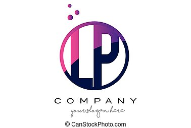 LP L P Circle Letter Logo Design with Purple Dots Bubbles -...