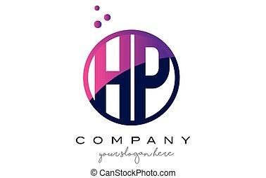 HP H P Circle Letter Logo Design with Purple Dots Bubbles -...