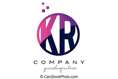 KR K R Circle Letter Logo Design with Purple Dots Bubbles -...
