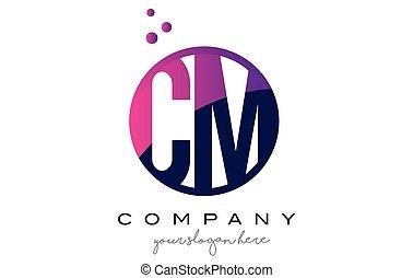 CM C M Circle Letter Logo Design with Purple Dots Bubbles -...
