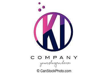 KI K I Circle Letter Logo Design with Purple Dots Bubbles -...