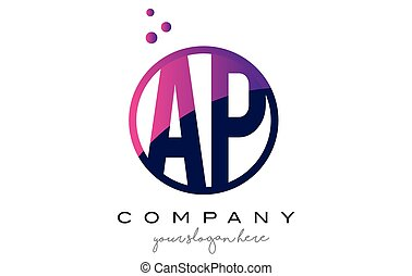 AP A P Circle Letter Logo Design with Purple Dots Bubbles -...