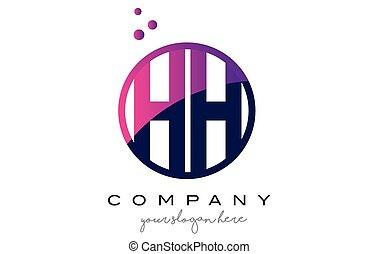 HH H H Circle Letter Logo Design with Purple Dots Bubbles -...
