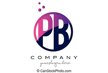 PB P B Circle Letter Logo Design with Purple Dots Bubbles -...