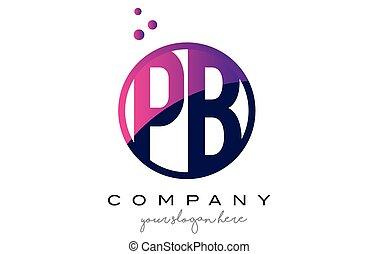 PB P B Circle Letter Logo Design with Purple Dots Bubbles -...