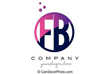 FB F B Circle Letter Logo Design with Purple Dots Bubbles -...