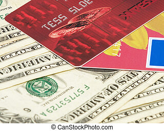 Bank card - Bank card and dollar billsBackground