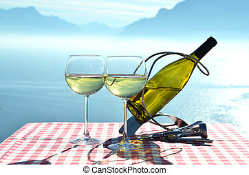 Schweiz, insjö, mot, Geneve, vin