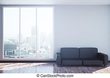 Interior with couch and blank wall - Sunlit interior with...