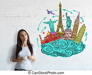 Vacation concept - Attractive young woman with coffee cup on...