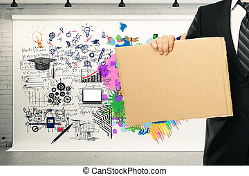 Creative and analytical thinking concept. Businessman...