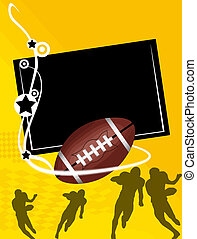 American Football banner with the ball and player...