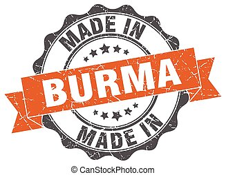 made in Burma round seal