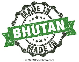 made in Bhutan round seal