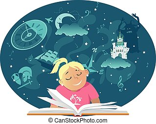 book reader girl.eps - Teen girl reading a book, fantasy...