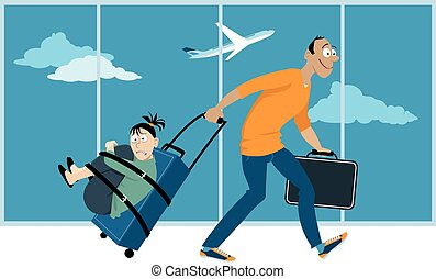 Fear of flying - Man is dragging a woman who's affected by a...