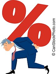 Crippling interest - Exhausted man carrying a percentage...