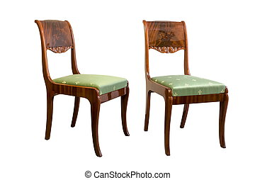 Antique Biedermeier chair with wood carving