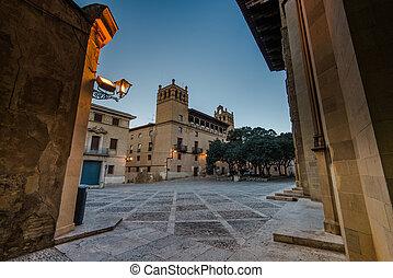 Monastery de San Pedro el Viejo in Huesca,Spain at early...