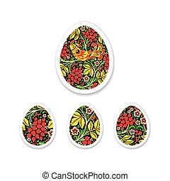 Sticker Set of eggs is painted with a flower pattern. Russian na