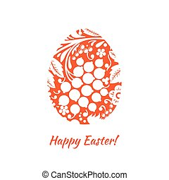 Greeting card with a happy Easter. The egg is painted with a...