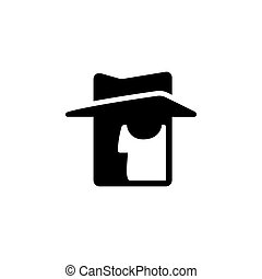 Stylized spy icon. Face silhouette with hat and dark...