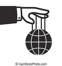 Hand with globe on strings, world domination and control...