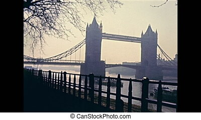 London Tower bridge on the River Thames on 70s. Historic...