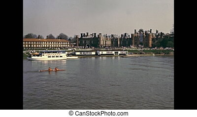 boating on River Thames - People boating on River Thames in...