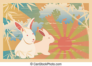 Asian traditional 2011 postcard. Illustration vector.