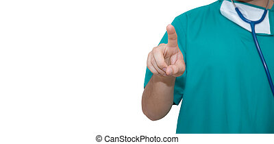 Doctor man pointing on something -  isolated on white background.