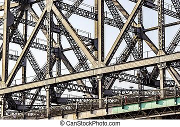 people cross the Howrah Bridge - detail of Howrah Bridge. It...
