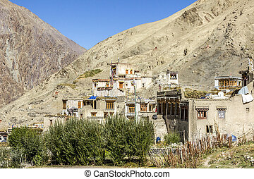 old mountain village with cloister in Ladakh