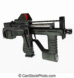 Modern automatic weapons gun of a new model. Design concept. 3D illustration.
