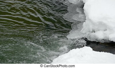 Snow, ice and water - Winter creek in the national park...