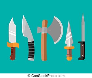 Knife weapon dangerous metallic illustration of sword spear...