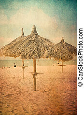 Palapa - Vintage texture style view of tropical beach with...