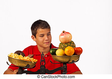 Healthy option - Nutrition balance, educated teenager...