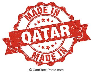 made in Qatar round seal