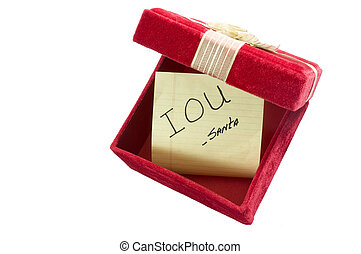 Christmas IOU - Sign of the Times: Empty Gift Box with IOU...