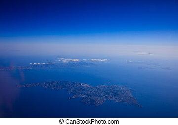 Aerial view of Greek islands