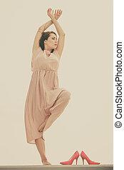 穿, 粉紅色, 婦女, 跳舞, 光, 長, 衣服