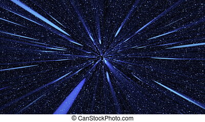 blue flash rays on many stars backgrounds