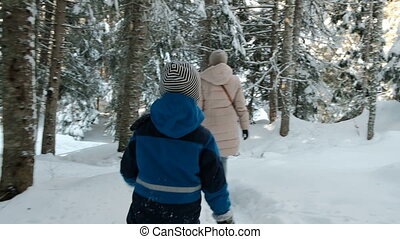 Little boy and woman walk in winter coniferous forest. View from back.