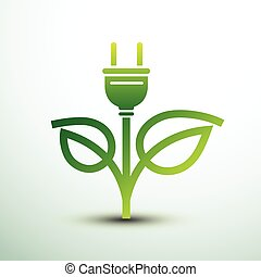 Eco plug - Green eco power plug design with leaf, vector...
