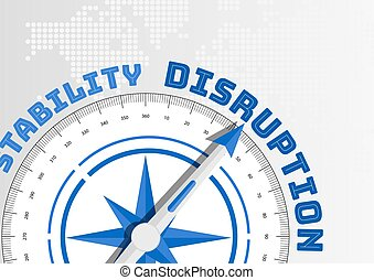 Disruption concept with compass pointing towards text