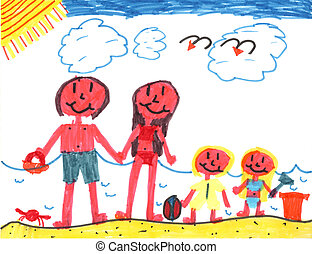 Happy Family at Happy Beach - Kid art by a genuine...